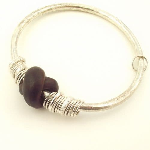 African Blackwood bangle wooden knot shape sterling silver 4mm rod